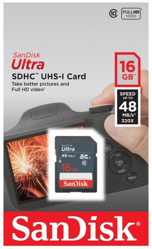 Thẻ nhớ 16gbsdhc C10 read 48MB/s Sandisk