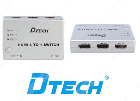 Bộ chia HDMI 3 vào 1 ra Dtech DT-7018