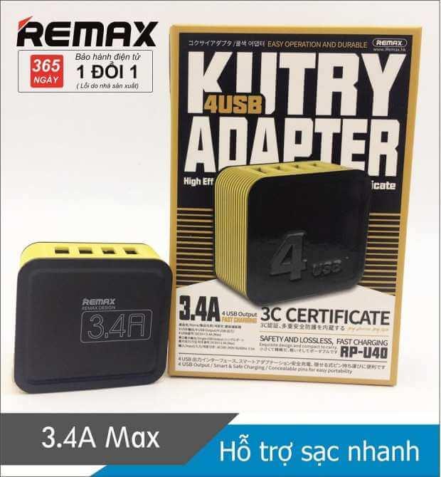 Cốc sạc 4 cổng USB 3.4A Remax RP-U40
