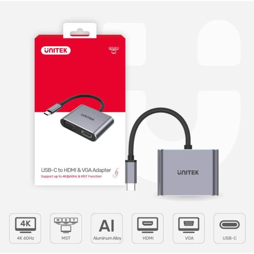 Cáp chuyển đổi USB C sang HDMI,VGA Unitek V1126A