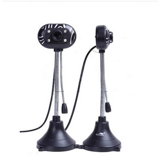 WEBCAM chân cao có mic có 4 đèn led – Màu đen-Sắc nét-W03