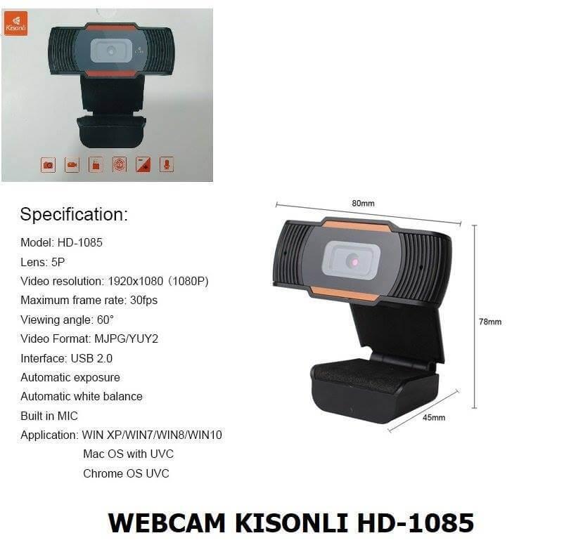 KISONLI HD-1085 USB Webcam 1080P (full HD)